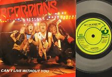 """THE SCORPIONS can't live without you HAR 5221 clear vinyl uk 1982 7"""" PS EX/VG"""