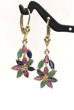 14k Solid Gold Leverback Cluster Dangle Earrings, Mix Ruby Emerald Sapphire