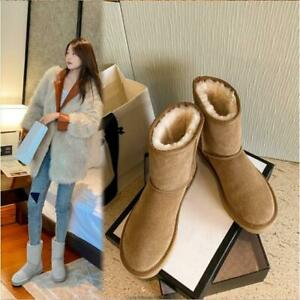 Women's Suede Leather Short Boots Wool Lined Warm Snow Boots Winter Shoes Gray