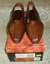 NOS ~ NIB ~ ENZO ANGIOLINI Y-JEOPARDY3 LION LEATHER BROWN SLINGBACK SHOES 6 M