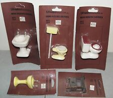 New!! 5 Vtg DOLLHOUSE FURNITURE LOT (2 Porcelain Toilets, 2 Sinks, Night Stand)