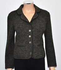 VTG LITZA Brown Marled Boiled Wool Cardigan Jacket Pewter Coin Buttons - 38 S/M