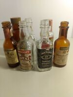 Vintage Collectible Lot of 7 Empty Mini Liquor Bottles w/ Tax Stamps - Used