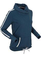 Leichtes Sweatshirt 44 46 dunkelblau meliert Stretch Shirt Kragen NEU
