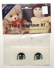 """Nos Nip (1985) Sew-On Embroidered Fabric 3/4"""" Green Doll Eyes - Kittay & Blitz"""