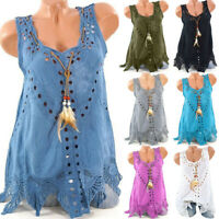 Women Plus Size Summer Tank Casual U-Neck Embroidery Hollow Out Sleeveless Tops