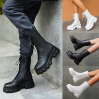 ❤️ Women Chunky Heel Zip Military Ankle Mid Calf Boots Punk Lace Up Combat Boots