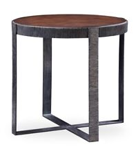 """30"""" Dia. Edvige Set of 2 Side Table Hand Crafted Solid Walnut Textured Iron"""