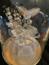 Wedding Cake Topper - Heart, Bells,flowers Lace-Hand Blown Glass New old stock