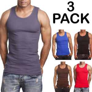 3 Pack Men 100% Cotton Tank Top Undershirt Ribbed Muscle A Shirt Wife Beater Gym