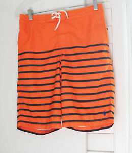 Polo Ralph Lauren Boys Striped Swim Trunks Bright Signal Orange Sz L (14-16)-NWT