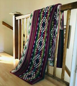 Huge King Size South American REVERSIBLE  Handmade Wool Blanket Sofa Bed Throw