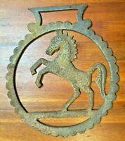 "Vintage Extra Large Cast Iron 10""x 9"" Horse Saddle Bridle Medallion Wall Country"