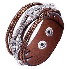 Crystal Bracelet Rhinstone Slake Deluxe Wood Brown Bracelet
