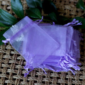 Purple Small Organza Bags, Wedding Gift, Party Favour, Drawstring Pouch. 9x7cm