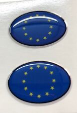 EU European Union Int. Code 2x Small Oval 3D Gel Flag Stickers Domed Moto Gsm
