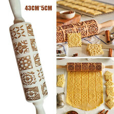 Wooden Rolling Pin Retro Embossing Engraved Dough Cookies Roller Tools Kitchen