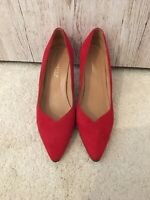 True Vintage 1980s Bally Red Suede Pointed Court Shoes Uk 6.5 Formal Wedding