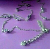 BRIGHTON HALO Clear Blue Crystal Silver Twinkle LONG  NECKLACE  w/Pouch