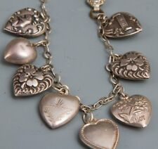 Vintage!! Sterling Silver 8 Puffy Heart Charms and Bracelet Free Shipping!