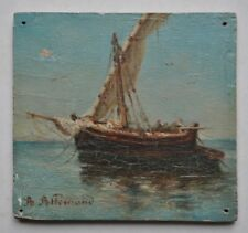 Miniature Impressionnisme Marine Voilier Peinture sign Joseph Allemand 1835-1907