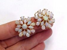 Wow! Fiery 12CTW White Australian Opal Burst Large Omega Back 14K Gold Earrings