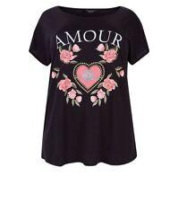 NEW LOOK ~ Curves Black Amour Floral Stud T-Shirt ~ Black ~ UK Size 22