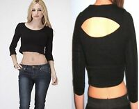 3/4 Sleeve Open Back Black Crop Top Blouse Size Small