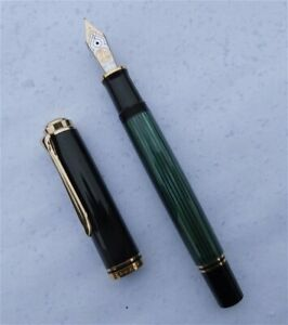 NEW PELIKAN SOUVERAN M800, FOUNTAIN PEN, BLACK/GREEN, 18 C NIB, EF