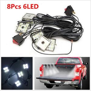 Universal 8pcs DC 12V 8W 48LED Truck Bed White Neon LED Lighting Light & Switch