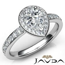 Engagement Ring Gia E-Si1 W Gold 1.27ctw Halo Side-Stone Pave Set Pear Diamond