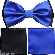 Wedding Black Royal Blue Pretied Bowtie & Pocket Square Hanky Two Layers 3pc set