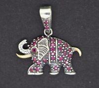 Elefanten Anhänger  925 Sterling Silber - vergoldet roten Rubin Elephant Pendant