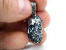 Victorian Memento Mori colgante 925 Skull vanitas Masonic Janus cabeza de inflexión