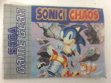 Livret Sonic the Hedgehog Chaos Sega Game Gear