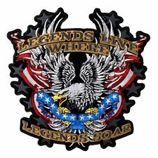 Legends Soar Patriotic Eagle Patch EMBROIDERED 5 INCH IRON ON MC BIKER  PATCH