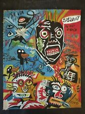 JEAN-MICHEL BASQUIAT  OIL PAINTING SIGNED ON VINTAGE RIGID CARDBOARD  of the 80s