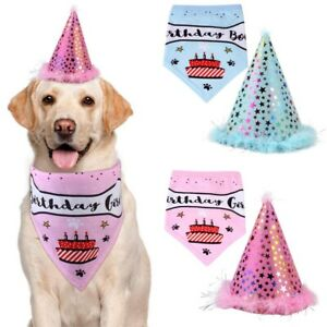 Dog Pet Happy Birthday Bandana tie and Matching Cute Hat for Party Accessory