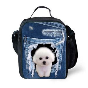 FOR U DESIGNS Animals False Denim Insulated Lunch Bag Picnic Bag Kids Lunchbox