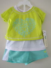 ROXY GIRL TODDLER 2 PIECE - T-SHIRT + SHORTS NEW SIZE 12 -18 MONTHS BEACH GREEN