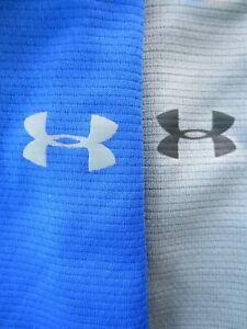 Lot Of 2 Under Armour Heat Gear Men's Polo Shirts BLUE & GRAY Loose Sz XL