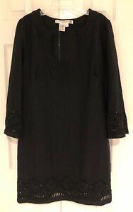 Studio M Women's Black Eyelet Dress Size - M - Pretty Neck Line & Sleeves
