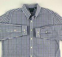 Orvis Mens Button Front Shirt Blue White Plaid Long Sleeve Trim Fit Pocket XL
