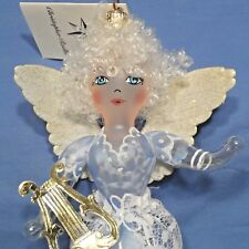 "Radko 2000 ""Gloriana"" Rare Blue Angel w/Lace & Harp Ornament New w/Tag Italy"