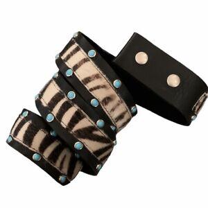 "Leatherock Inset zebra pony hair turquoise stud Leather Belt, NO BUCKLE, M 34"""