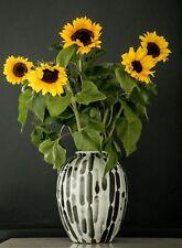 Handpainted-Black and white vase