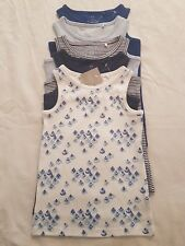 Girls 5 Pack Blue&White Floral Stripe Plain Vests Tops Next size 4-5 years BNWT