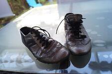 Geox Femmes Comfort Chaussures Sneaker Lacets Confortable Taille 38 Cuir Argent Noir #2k