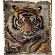 Tiger Throw Rug Blanket Sofa Bed Cover Tapestry 130cmX180cm Cotton Woven Animal