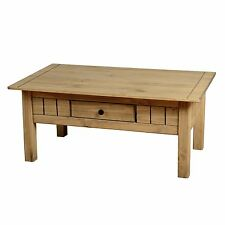 Seconique Panama 1 Drawer Coffee Table - Solid Pine - Waxed Oak Finish